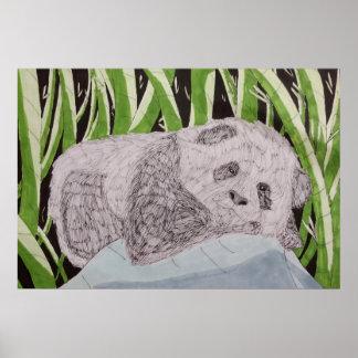 Póster Poster soñoliento de la panda del bebé