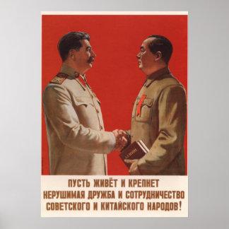 Póster Poster soviético de la propaganda de Joseph Stalin
