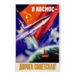 Póster Poster soviético de la propaganda del espacio