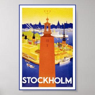 Póster Poster sueco del viaje del vintage de Estocolmo