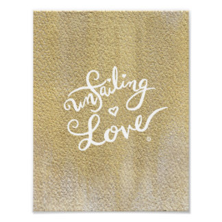 Póster Poster Unfailing del amor - caligrafía/oro