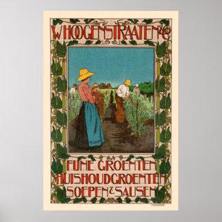 Póster Poster vegetal francés del vintage del anuncio