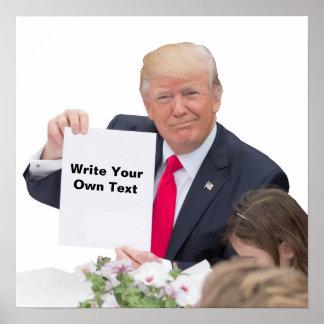 Póster Presidente Donald Trump - escriba su propio texto
