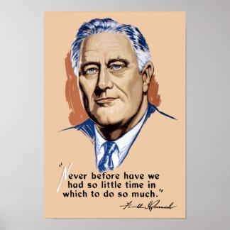 Póster Presidente Franklin Roosevelt y cita -- WWII