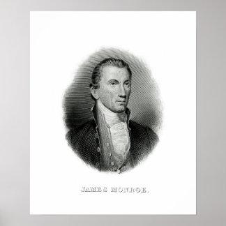 Póster Presidente James Monroe del grabado del vintage