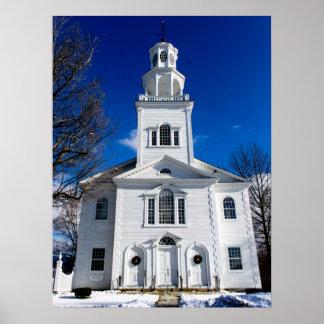 Póster Primera iglesia vieja en la nieve Bennington