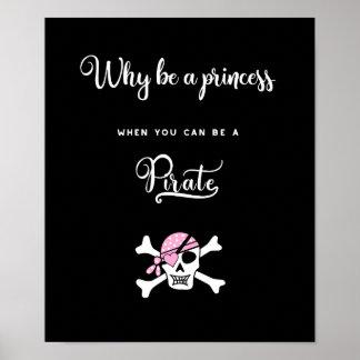 Póster Princesa Pirat. Divertido. Refranes lindos. Chicas