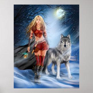 Póster Princesa y lobo del guerrero del invierno del