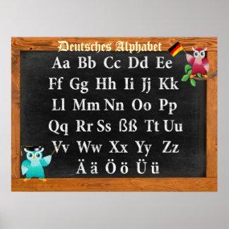 Póster Profesor lindo Owl german Deutsches Alphabet