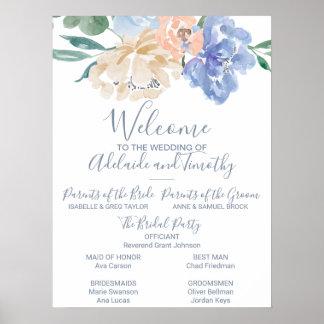 Póster Programa floral azul polvoriento del boda