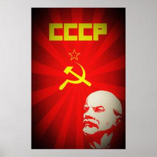 Póster propa rojo comunista de Unión Soviética Lenin
