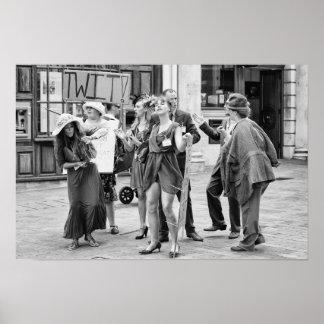 Póster Protesta enojada de los ejecutantes de la calle