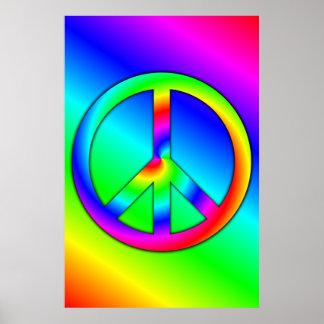 Poster psicodélico de la paz póster
