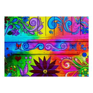 poster psicodélico del mural del hippie póster