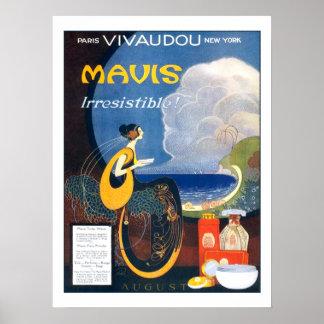 Póster Publicidad 1920 del perfume de Mavis del art déco