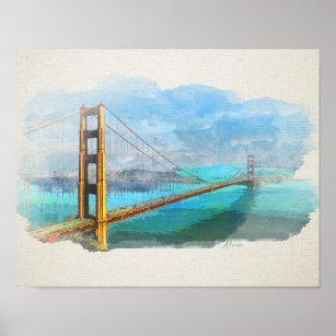 Póster Puente Watercolor Golden Gate San Francisco