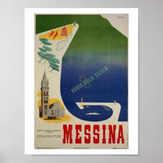 Póster Puerto de Messina de anuncio italiano del viaje