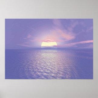 Póster Puesta del sol azul