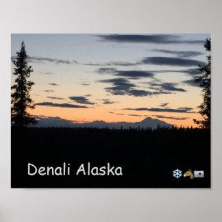 Póster Puesta del sol de la cordillera de Alaska
