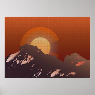 Póster Puesta del sol de la montaña de Colorado
