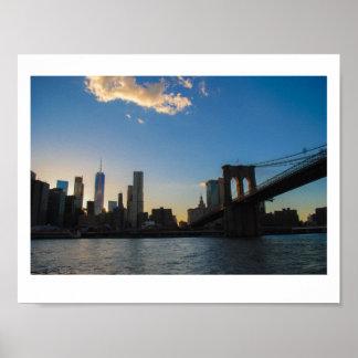 Póster Puesta del sol del puente de Brooklyn del verano