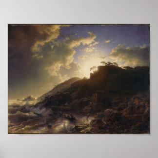 Póster Puesta del sol después de una tormenta en la costa