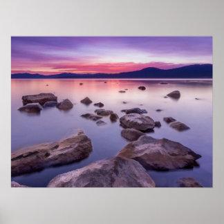 Póster Puesta del sol en el lago Tahoe