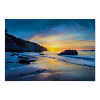 Póster Puesta del sol en el Pacífico en la playa San