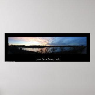 Póster Puesta del sol en el panorama del parque de estado