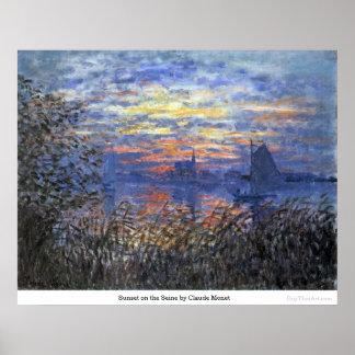Póster Puesta del sol en el Sena de Claude Monet