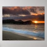 Póster Puesta del sol en la playa del monasterio, Carmel,