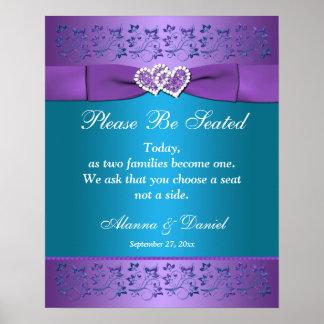 Póster Púrpura, corazones florales del trullo que casan
