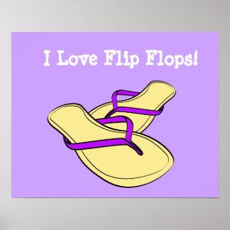 Poster púrpura de los flips-flopes del arte pop