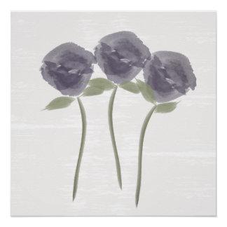 Poster púrpura de los rosas de la acuarela bonita