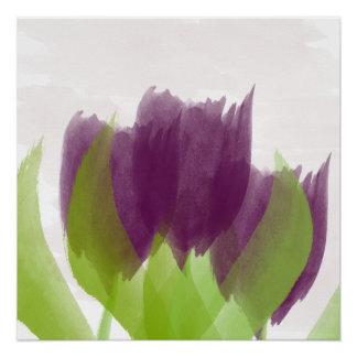 Poster púrpura del arte de la acuarela de los