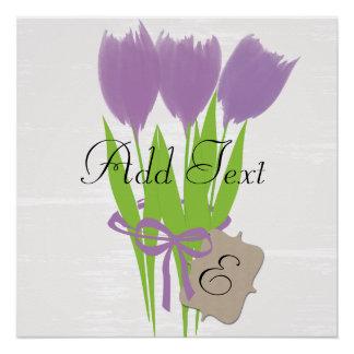 Poster púrpura del arte de la acuarela del ramo de