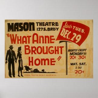Póster Qué Anne trajo a casa el poster de WPA del vintage