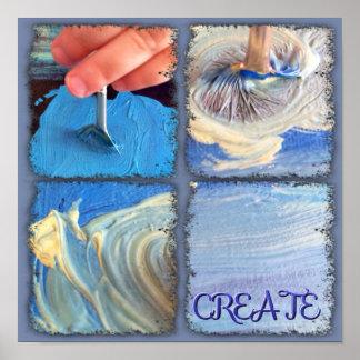 Poster que muestra las manos jovenes que crean el