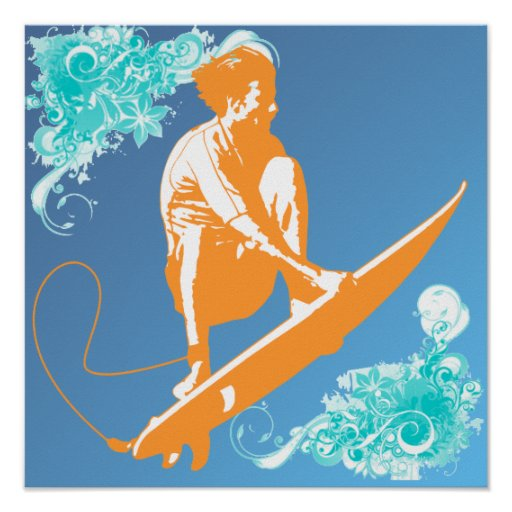 Poster que practica surf