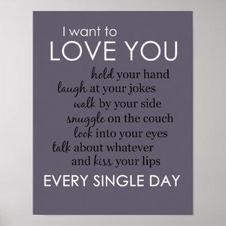 Póster Quiero amarle todos los días poster