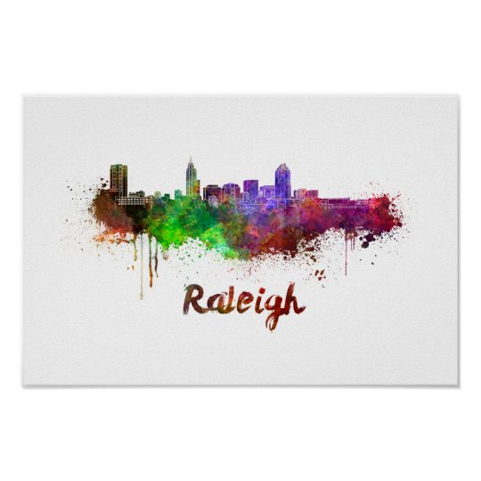 Póster Raleigh skyline in watercolor