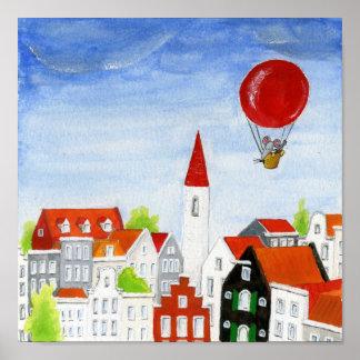 Póster Ratón del globo y poster de los tejados