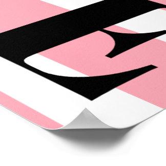 Póster Rayas rosadas y blancas del poster del AMOR -