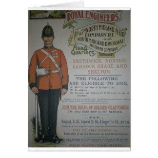 Poster real 1890 del reclutamiento de los ingenier tarjeta de felicitación