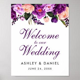 Póster Recepción floral púrpura ultravioleta del boda