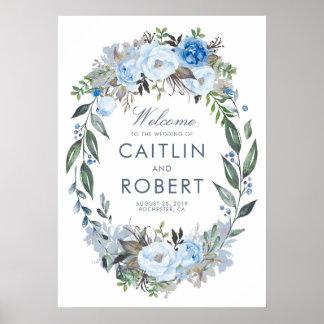 Póster Recepción romántica floral azul polvorienta del
