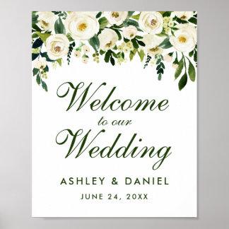 Póster Recepción verde floral del boda de la acuarela