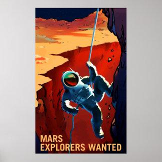 """Póster Reclutamiento querido """"exploradores"""" de Marte del"""