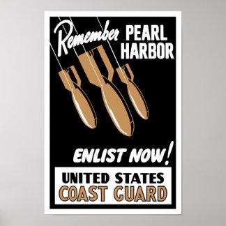 Póster Recuerde el Pearl Harbor ahora para alistar --