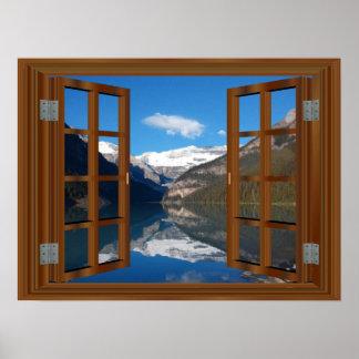 Póster Reflexión de la ventana del lago mountain de Lake